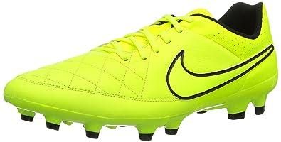 big sale de9cb f9eb8 Nike Temps Genio Leather FG – Chaussures de Football pour Homme - Jaune -  Citronier,