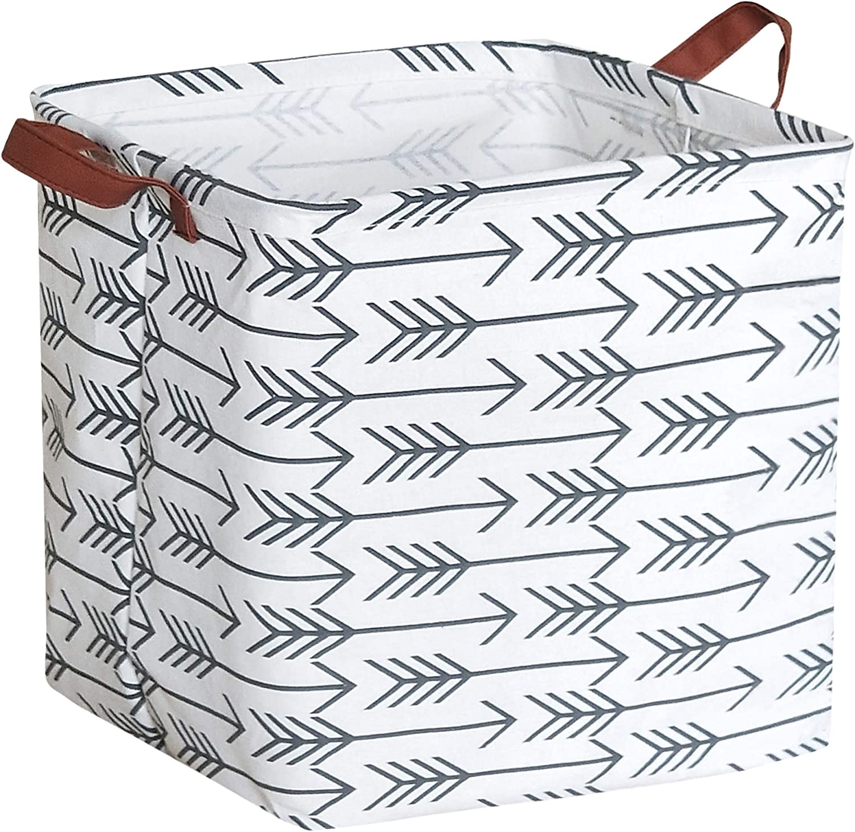 Black Arrow HIYAGON Square Storage Bins,Storage Baskets,Canvas Fabric Storage Boxes,Foldable Nursery Basket for Clothes,Books,Shelves Baskets,Gift Baskets,Home Organization,Room Decor