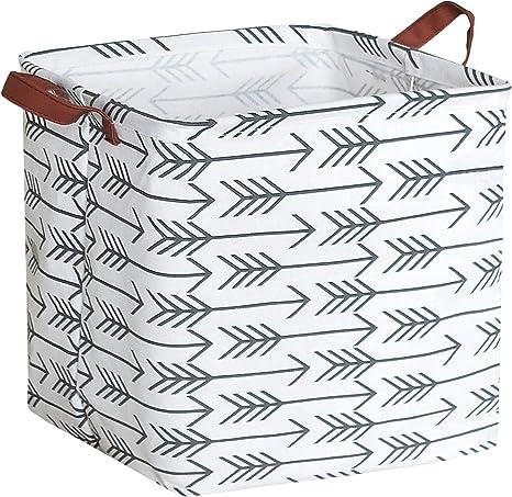 Black Rhombus HIYAGON Square Storage Bins,Storage Baskets,Canvas Fabric Storage Boxes,Foldable Nursery Basket for Clothes,Books,Shelves Baskets,Gift Baskets,Home Organization,Room Decor