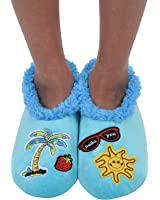 Snoozies Womens Cozy Groovy Applique Patches Non Skid Slipper Socks