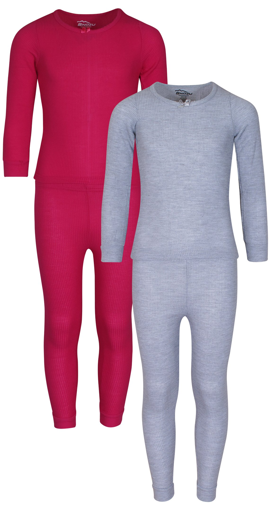 Snozu Girl's 2-Pack Thermal Warm Underwear Top and Pant Set, Light Grey/Fuchsia, Size 4'