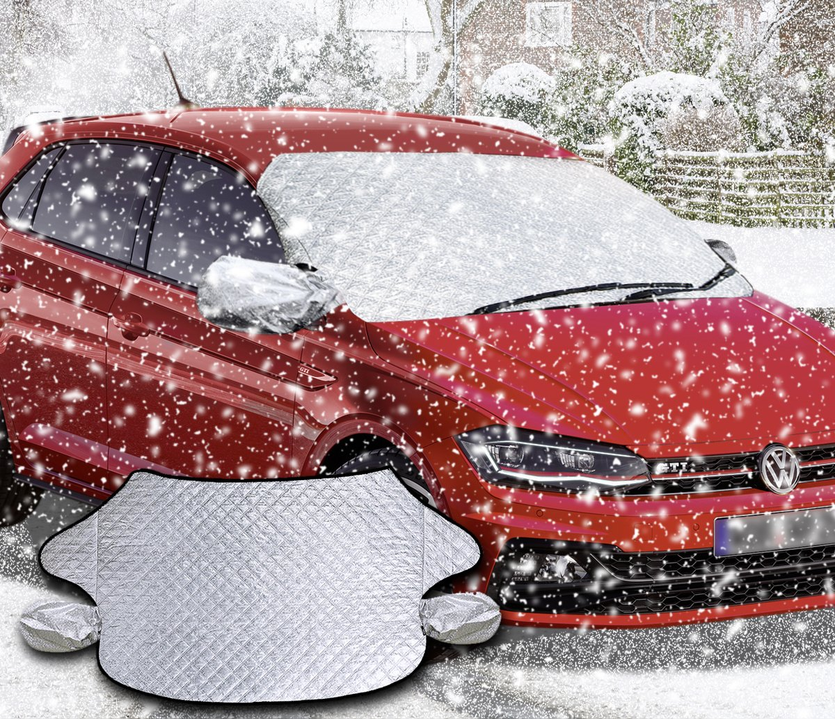 Sun UV-Rays Zento Deals Car Windshield and Side Mirrors Cover Protector from Winter Ice//Snow and Scratches Waterproof and No Leakage with Anti-Theft Design Fire Retardant Black and Silver Color Cov 5559001246