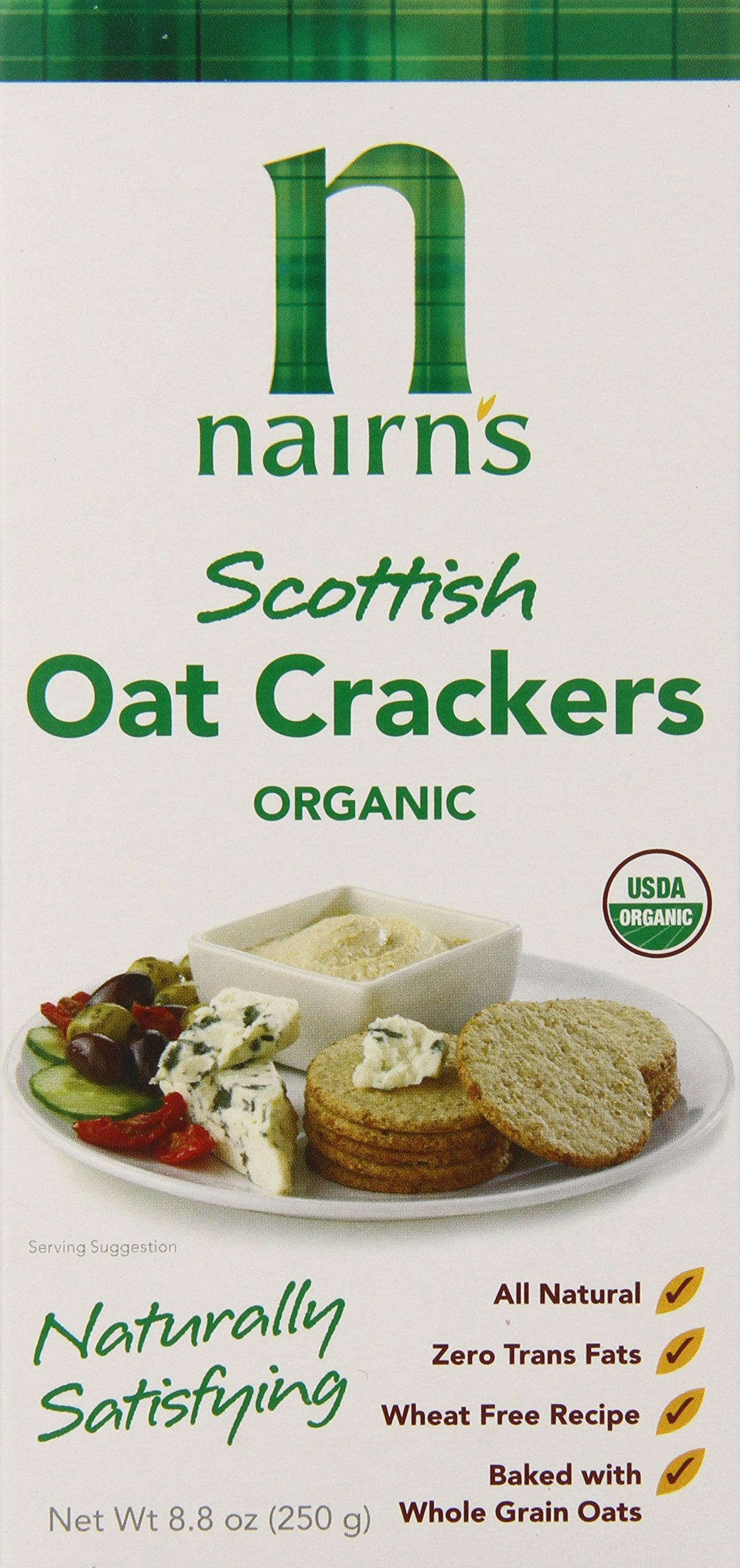 Nairn's Organic Oatcake Crackers (Green Box), 8.8-Ounce Boxes (Pack of 6)