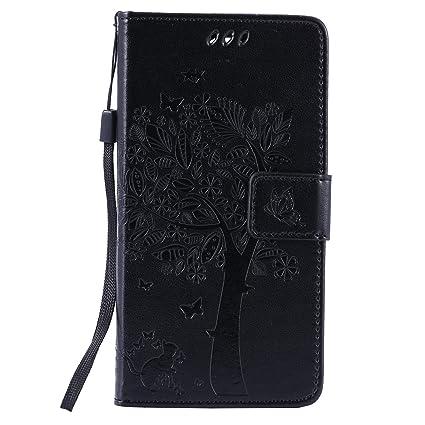 Qiaogle Teléfono Case - Funda de PU Cuero Billetera Clamshell Carcasa Cover para LG G4c / G4 Mini / H525N (5.0 Pulgadas) - KT05 / Negro Suerte Árbol ...