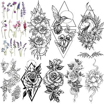 LAROI 9 Hojas Tatuajes Temporales Estilo Unicornio Negro Niños ...