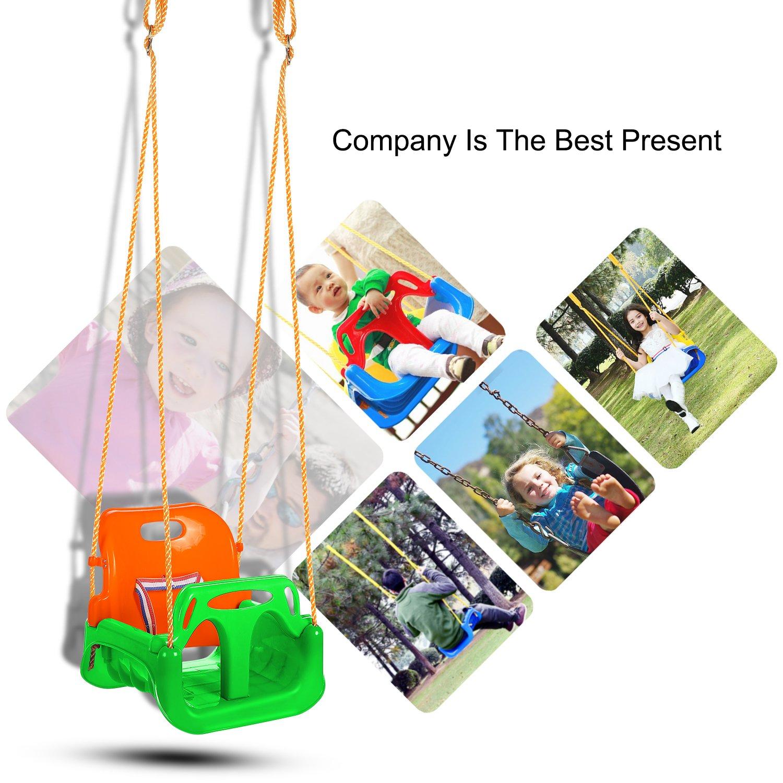 Colour3 Profun Altalena 3 in 1 da Giardino per Bambini Sedile in Plastica con Schienale Alto e Protezione Anteriore Staccabile con Corda 2M Sicura
