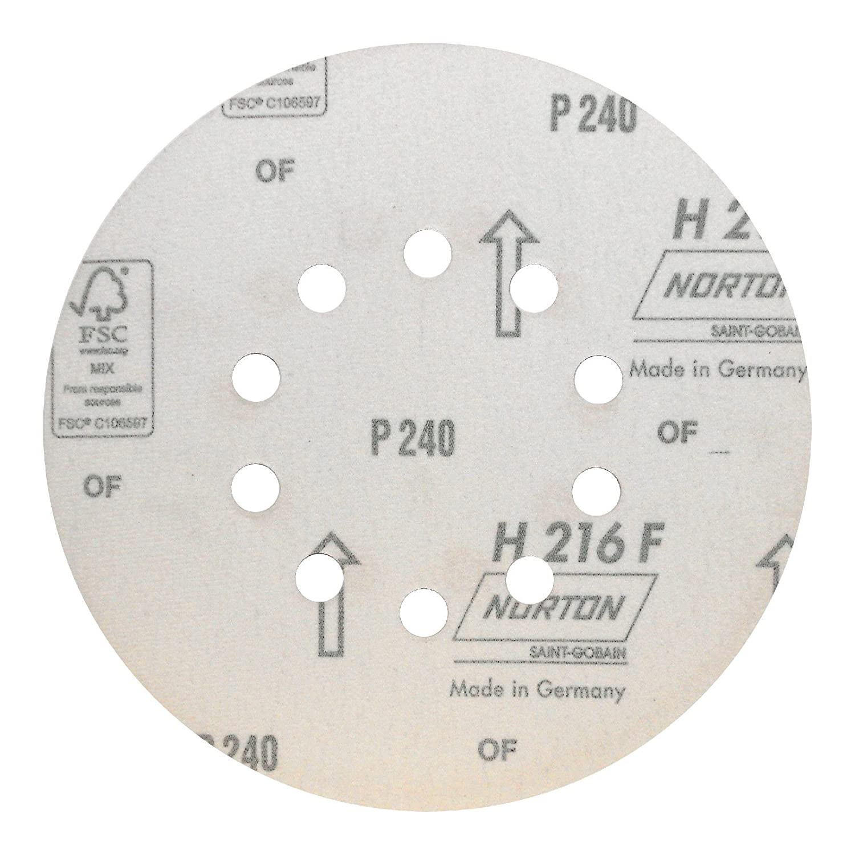 K/örnung: P100 25 St/ück 9 Loch // 8+1-Lochung /Ø 225 mm Norton H216F Schleifscheibe