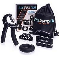 Hand Grip Strengthener Workout (4 Pack) - Adjustable Resistance Hand Strengthener, Finger Exerciser, Finger Stretcher, Grip Ring + Carrying Bag + eBook + 3 Years Warranty - ELITE SPORTS ITEMS