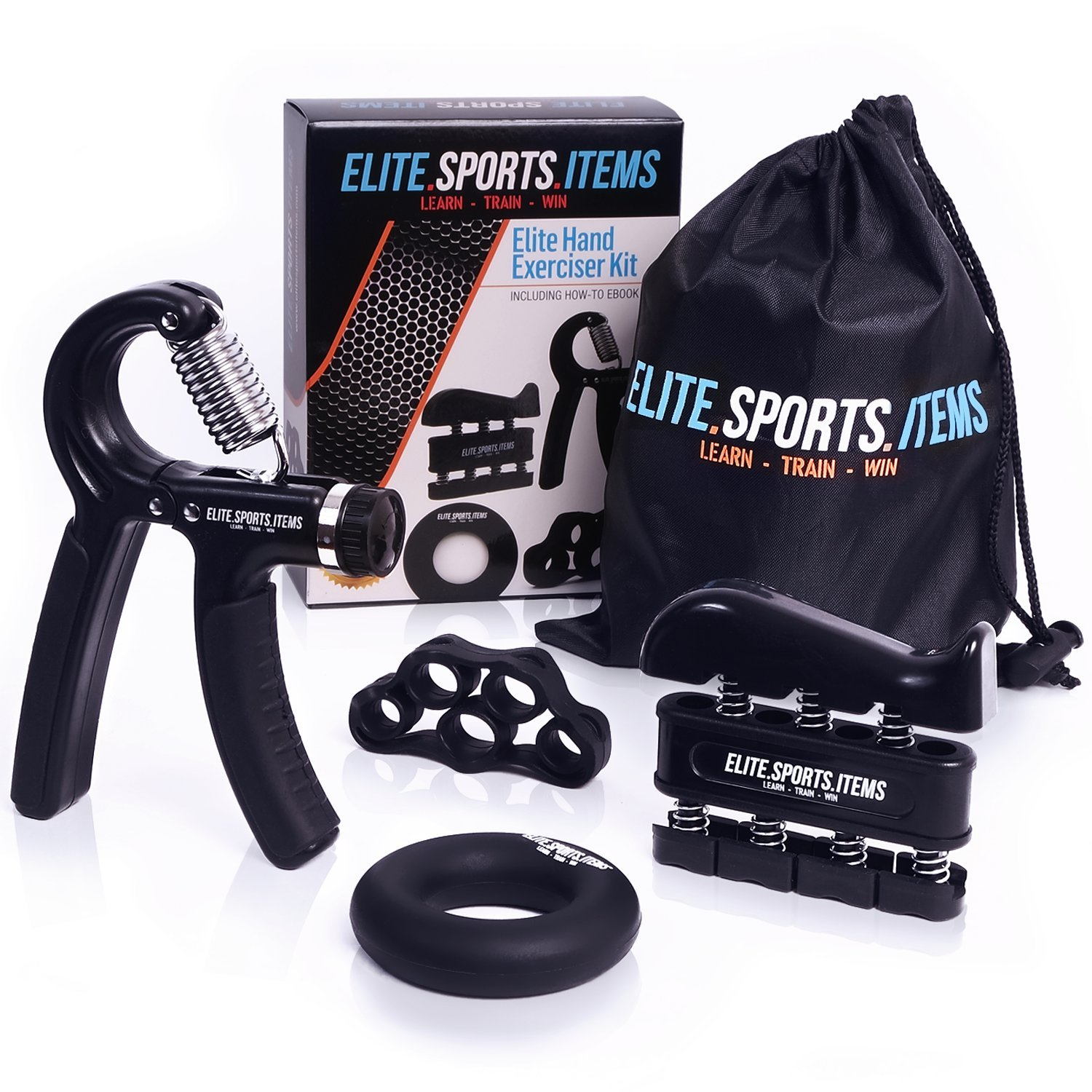 Hand Grip Strengthener Workout (4 Pack) - Adjustable Resistance Hand Strengthener, Finger Exerciser, Finger Stretcher, Grip Ring + Carrying Bag + eBook + 3 Years Warranty - ELITE SPORTS ITEMS by ELITE SPORTS ITEMS