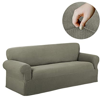 Astounding Maytex Reeves Stretch 1 Piece Sofa Furniture Cover Slipcover Dark Sage Home Interior And Landscaping Eliaenasavecom