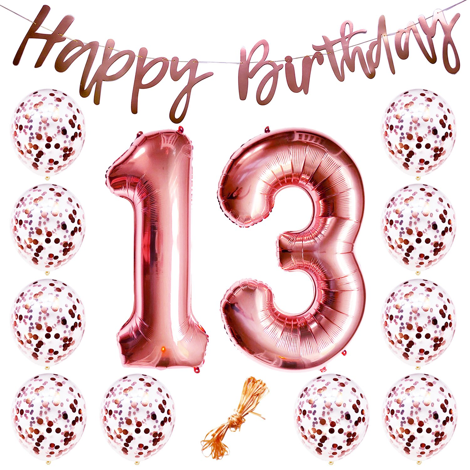 """13th Birthday Party Decorations Rose Gold Decor Strung Banner (HAPPY BIRTHDAY) & 12PC Helium Balloons w/Ribbon [Huge Numbers """"13"""", Confetti] Kit Set Supplies 