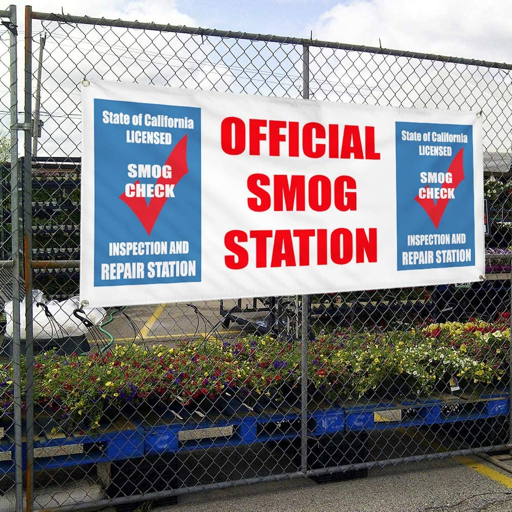 Vinyl Banner Sign Official Smog Station Smog Check Inspection Marketing Advertising Multiple Sizes Available One Banner 8 Grommets 40inx100in