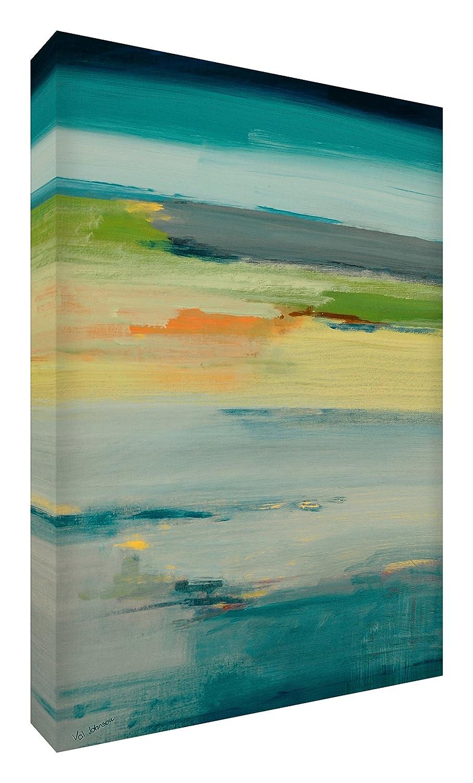 Feel Good Art Leinwand leuchtenden Farben Abstrakt gehören des Künstlers Val Johnson Blaugrün Ruhe 115x 78x 4cm Größe XXL