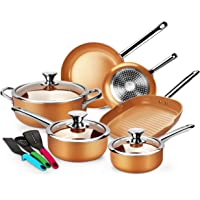 12-Pieces Kutime Nonstick Cookware Set with Stainless Steel Handles