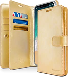 GOOSPERY Mansoor Wallet for Apple iPhone Xs Case (2018) iPhone X Case (2017) Double Sided Card Holder Flip Cover (Gold) IPX-Man-GLD
