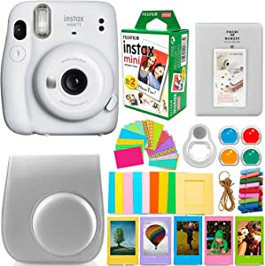 Fujifilm Instax Mini 11 Camera with Instant Film (20 Sheets) & DNO Accessories Bundle Includes Case, Filters, Album, Lens, and More