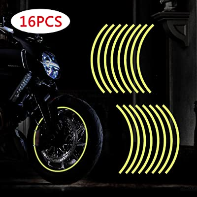 "TOMALL 17""-19"" Reflective Wheel Rim Stripe Decal for Motorcycle Wheels Car Cycling Bike Bicycle Night Reflective Safety Decoration Stripe Universal Rim Reflective Stickers (Yellow): Automotive"