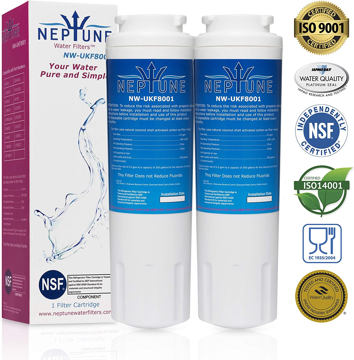 Neptune Water Filters Replacement for Refrigerator Water Filter for Maytag UKF8001, UKF8001AXX, UKF8001P, Whirlpool 4396395, 469006, EDR4RXD1, EveryDrop Filter 4, Puriclean II (2)