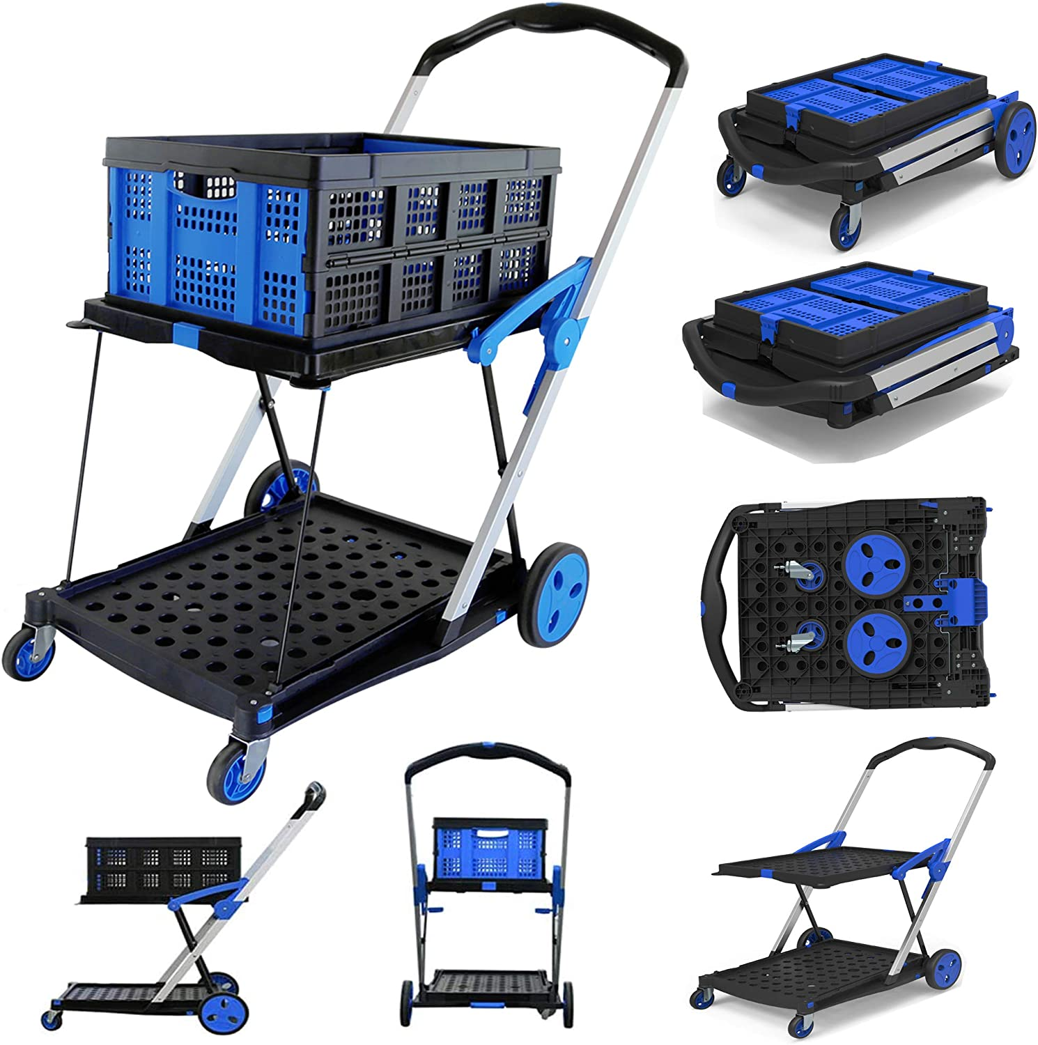 Utility Cart, Folding Shopping Cart with Basket, Double Layer Platform with Stiffener Bar Hand Truck Handle 200lbs, Collapsible Outdoor Wagon, Hand Truck for Warehouse/Office (Folding Cart + Crate)