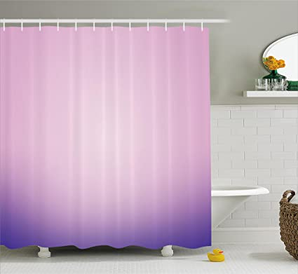 Ambesonne Lavender Shower Curtain Set Pink And Purple Ombre Print Modern Pastel Color Gradient Design