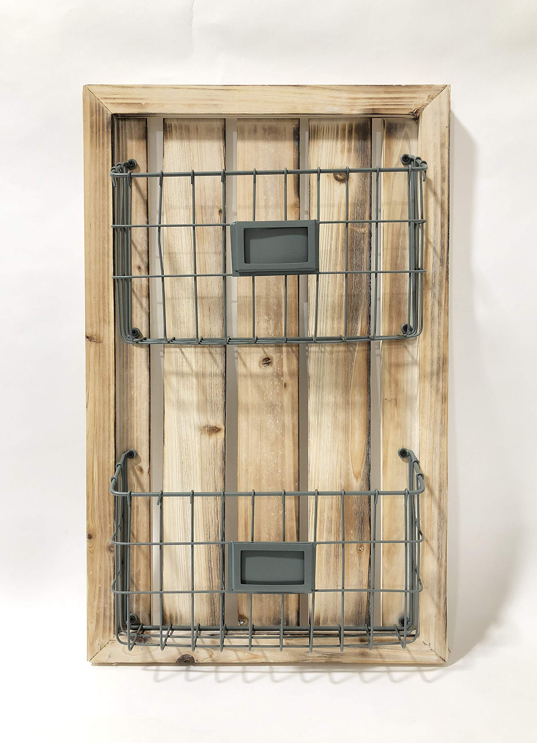 Designstyles Two Tier Magazine Holder - Wall Mounted Rack with Durable Wooden Frame and Pewter Colored Metal Baskets - Organizes Files, Books, Letters, and Folders by Designstyles
