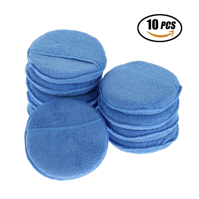 YeeStone Mikrofaser Wachs Applikator 10Pcs Auto Reinigung Polieren Wachsen Schaum Schwamm Polieren Schwä mme, Blau