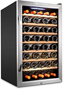 Ivation 51 Bottle Compressor Wine Cooler Refrigerator w/Lock | Large Freestanding Wine Cellar For Red, White, Champagne or Sparkling Wine | 41f-64f Digital Temperature Control Fridge Stainless Steel