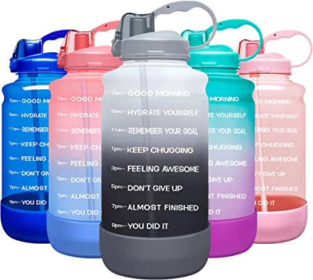 Elvira Large 1 Gallon/128 oz Motivational Time Marker Water Bottle with Straw & Protective Silicone Boot, BPA Free Anti-slip Leakproof for Fitness, Gym and Outdoor Sports