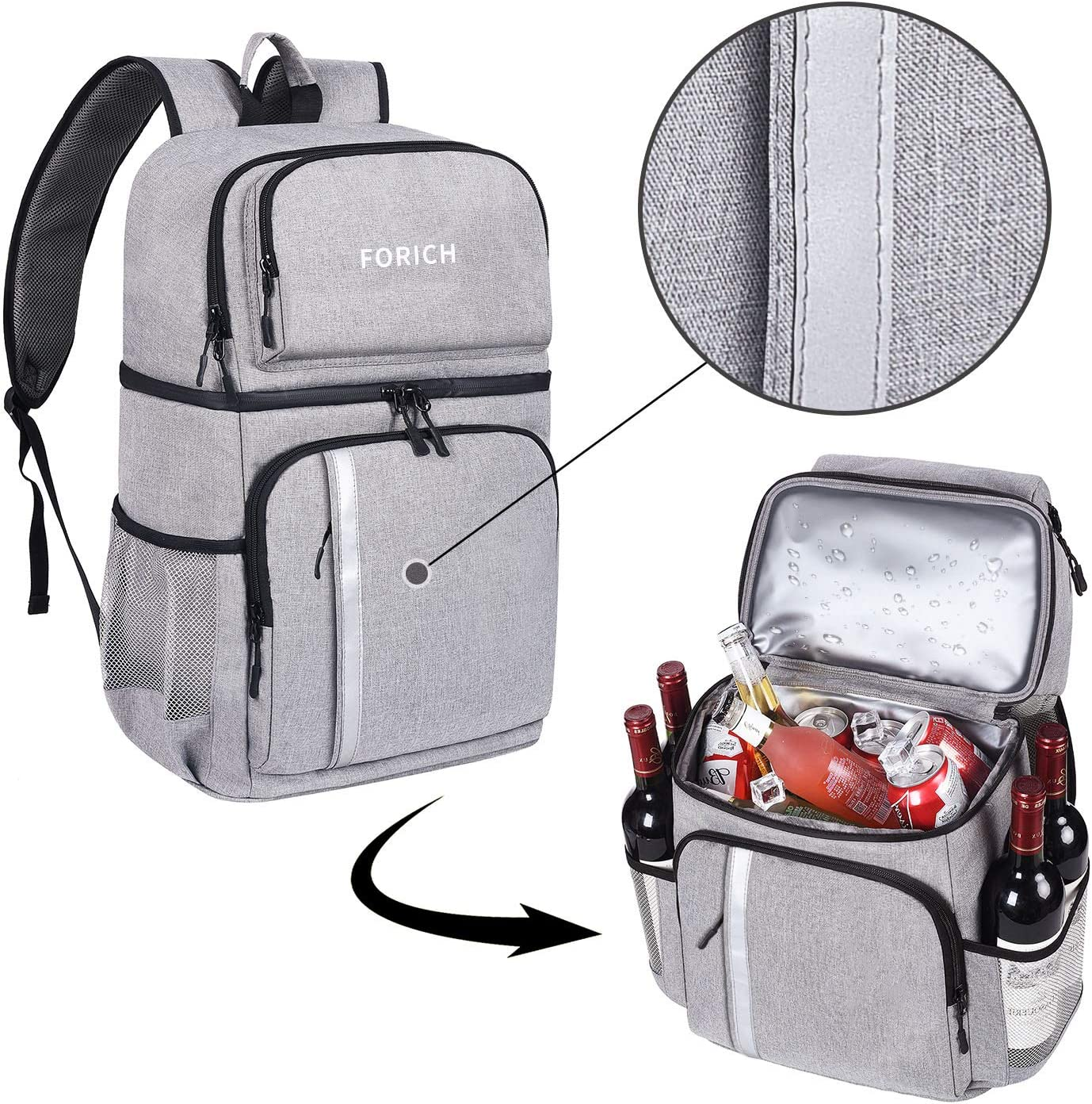 FORICH Insulated Cooler Backpack Double Deck Lightweight Leak Proof Backpack Cooler Bag Soft Lunch Backpack with Cooler Compartment for Men Women to Work Beach Travel Picnics Camping Hiking
