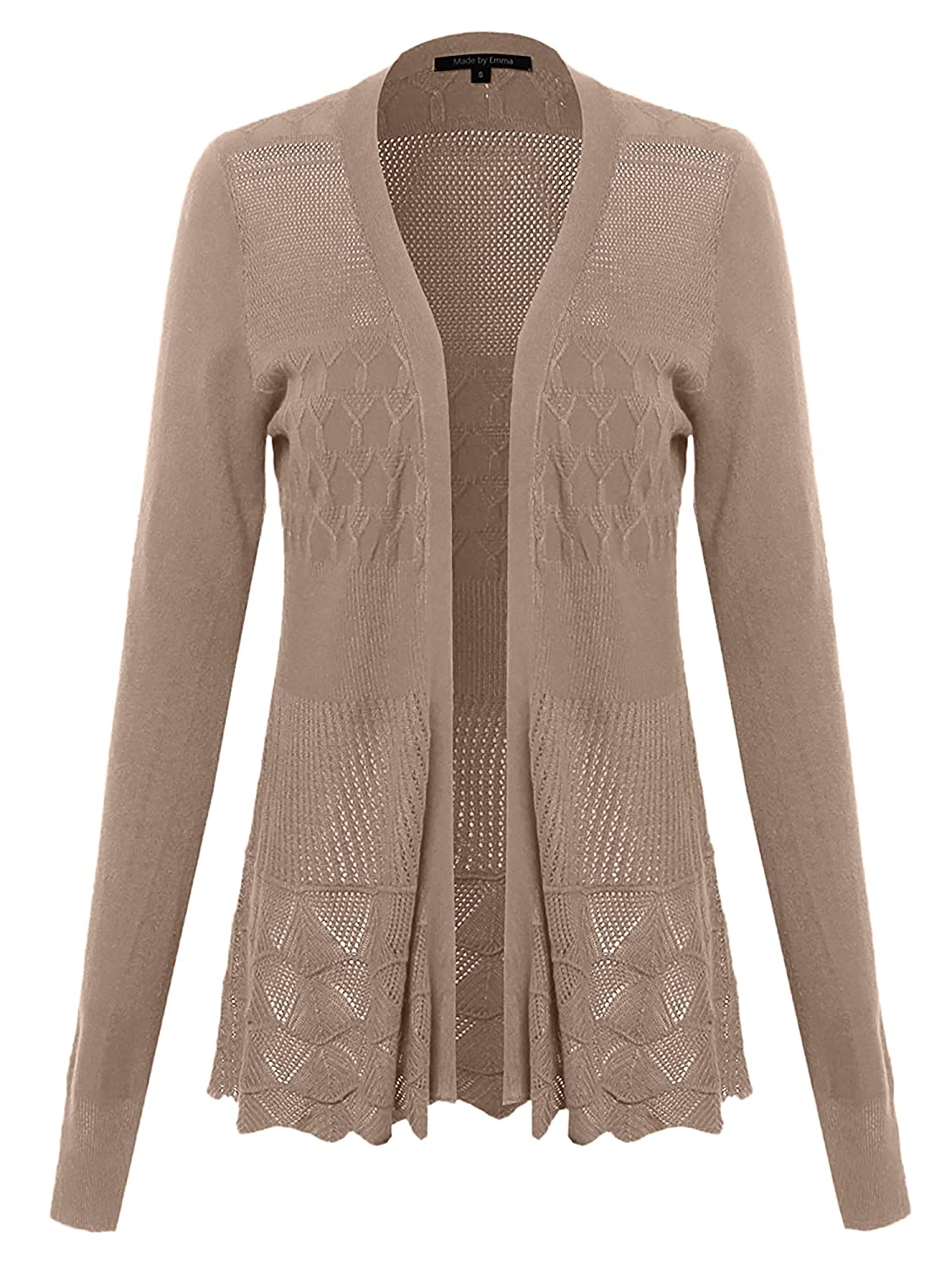 Fwocal014 Nude Made by Emma Women's Embroidery Lace Patterned Long Sleeves Cardigan Sweater