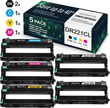 1-Pack DR221CL Drum,1-Pack TN221BK Toner 2-Pack Compatible Drum /& Toner Cartridge Replacement for Brother HL-3140CW HL-3150CDN HL-3170CDW HL-3180CDW MFC-9130CW MFC-9140CDN DCP-9015CDW Printers.