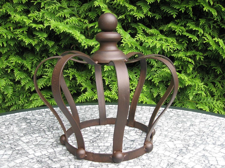 Gartenkrone Pflanzkrone *Rankhilfe Krone* Deko-Krone Eisen dunkelrostfarben 26 cm