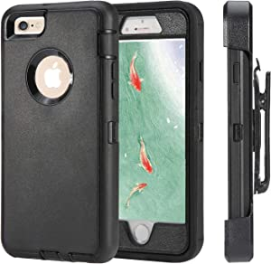 iPhone 6 Case, iPhone 6s [Heavy Duty Protection] [with Kickstand] 4 in 1 Rugged Shockproof Cover Holster Case with Built-in Screen Protector for Apple iPhone 6/6S(Black