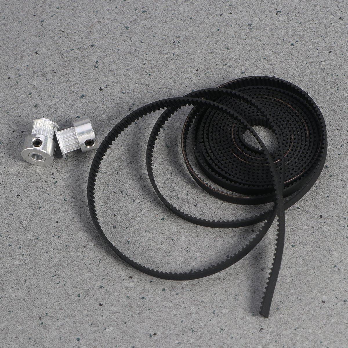 OUNONA Cinghia Dentata Cinghia Distribuzione 2mx6mm e 2 Pezzi Pulegge Dentate Alluminio 16T 5mm per RepRap Stampante 3D Prusa i3