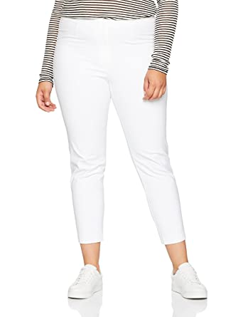 6228a1947bf26 Ulla Popken Women s Plus Size Comfort Waist Tapered Capri Pants White 16  660046 20