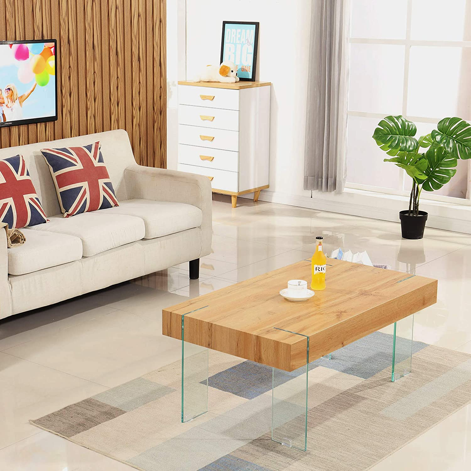 Amazon Com Ivinta Modern Glass Coffee Table For Living Room