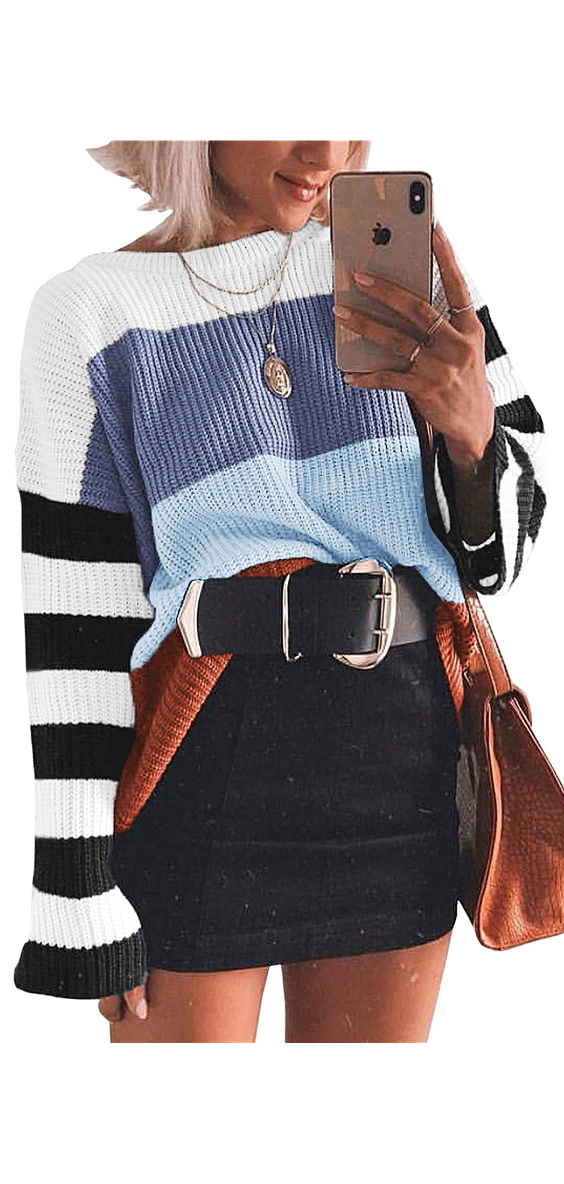 Women Knit Sweaters Color Block Striped Pullover Long