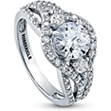BERRICLE Rhodium Plated Sterling Silver Round Cut Cubic Zirconia CZ 3-Stone Halo Engagement Ring