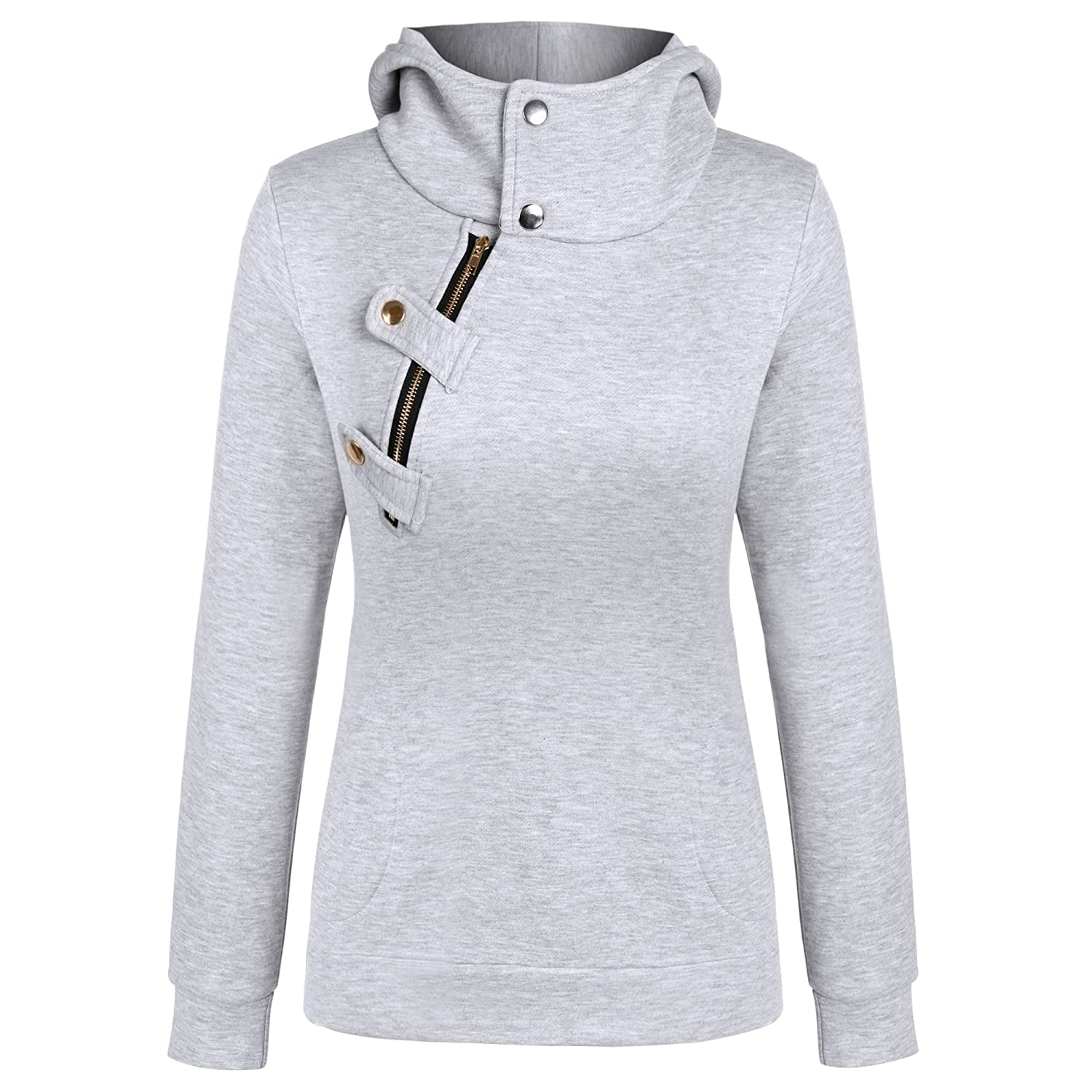 Meaneor Women's Long Sleeve Hoodie Coat Jacket Top Hooded Jumper Sweatshirt Gray