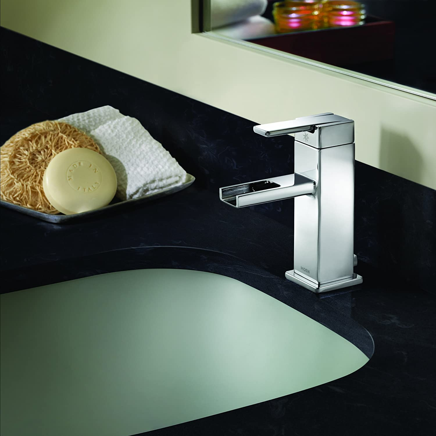 Moen S6705 90-Degree One-Handle Low-Arc Open Waterway Bathroom ...