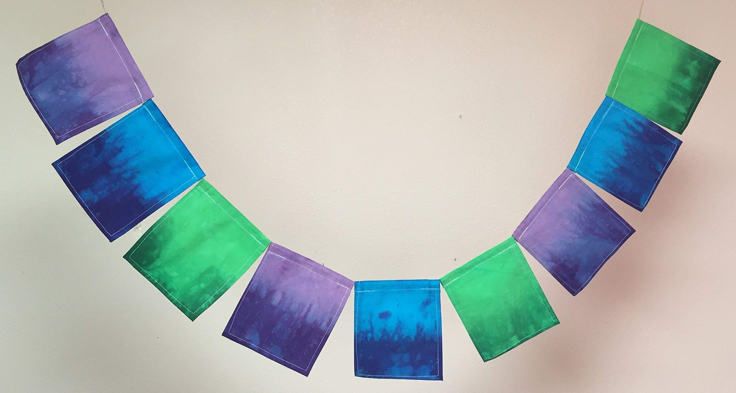 Custom Prayer Flag, Blue/Green/Purple. All proceeds to families in Mexico. Free domestic shipping.