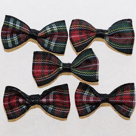 Lote de pajaritas en cinta escocesa con diseño de tartán de cuadros:Para recortes,