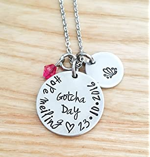 Adoption Necklace DII ABC Personalized Name Adopted Date Handstamped 3//4 Gotcha Mom Child Gift 1 Inch Discs