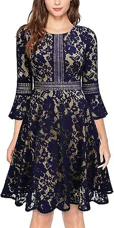MISSMAY Women's Vintage Full Lace Contrast Flare Sleeve Big Swing A-Line Dress