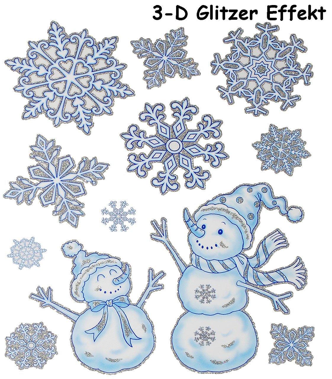 alles-meine.de GmbH 1 Bogen: statisch haftende Fensterbilder Weihnachtsmann // Christbaumkugeln // Nu/ßknacker wiederverwendbar.. nostalgische Weihnachten mit Glitzer Effekt