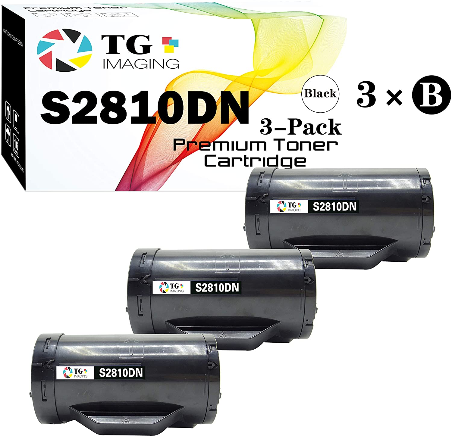 (3-Pack) TG Imaging Compatible Dell S2810 Toner Cartridge High Yield (6000 Pages) Replacement for H815DW S2810DN S2815DN Printer