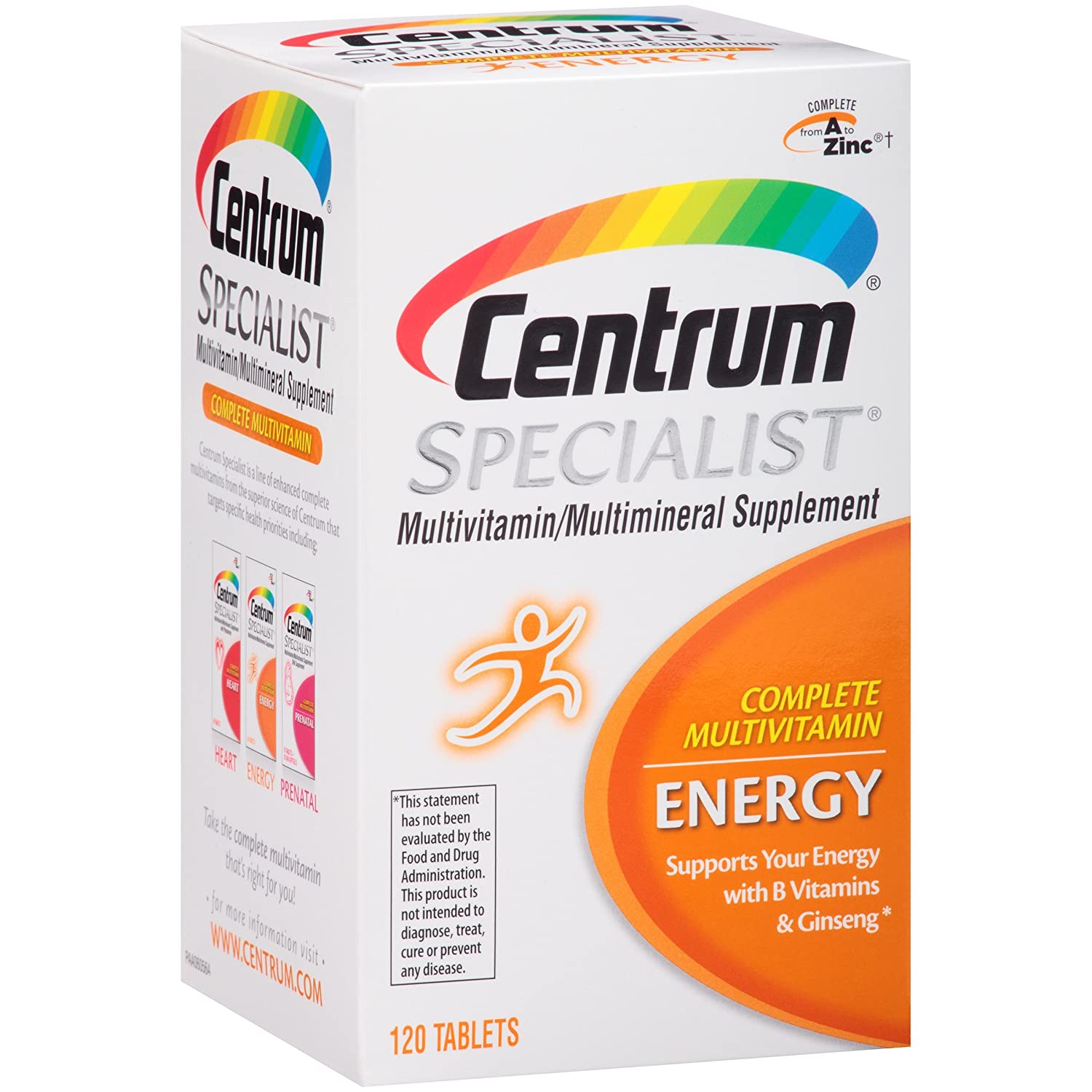 Centrum Specialist Energy 120 Count Complete Multivitamin Multimineral Supplement Tablet, Vitamin D3 and Vitamin C