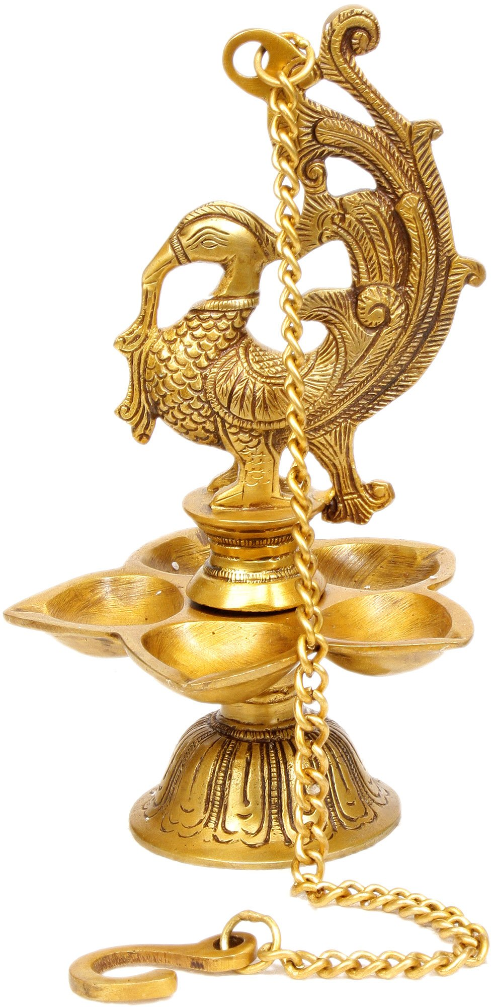 Temple Hanging: Mayura Lamp - Brass Sculpture