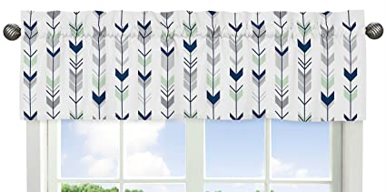 Sweet Jojo Designs Grey, Navy and Mint Woodland Arrow Print Girl or Boy Window Valance