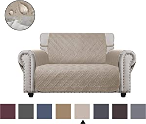 CHHKON Sofa Cover with Anti-Skip Dog Paw Print 100% Waterproof Quilted Furniture Protector Sofa Slipcover for Children, Pets for Leather Couch (Beige, Loveseat)
